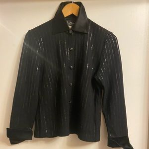 A classic knit tuxedo jacket with sparkly lines